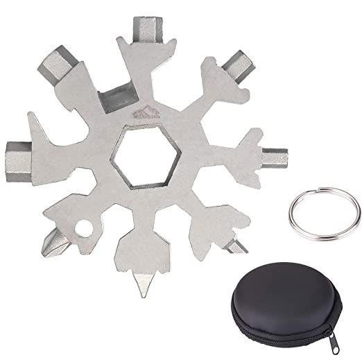 EKKONG Tarjeta de Herramientas Snowflakes, combinación de Tarjetas Multiusos 18 en 1 Productos,Multi herramienta copo de nieve (Plata)