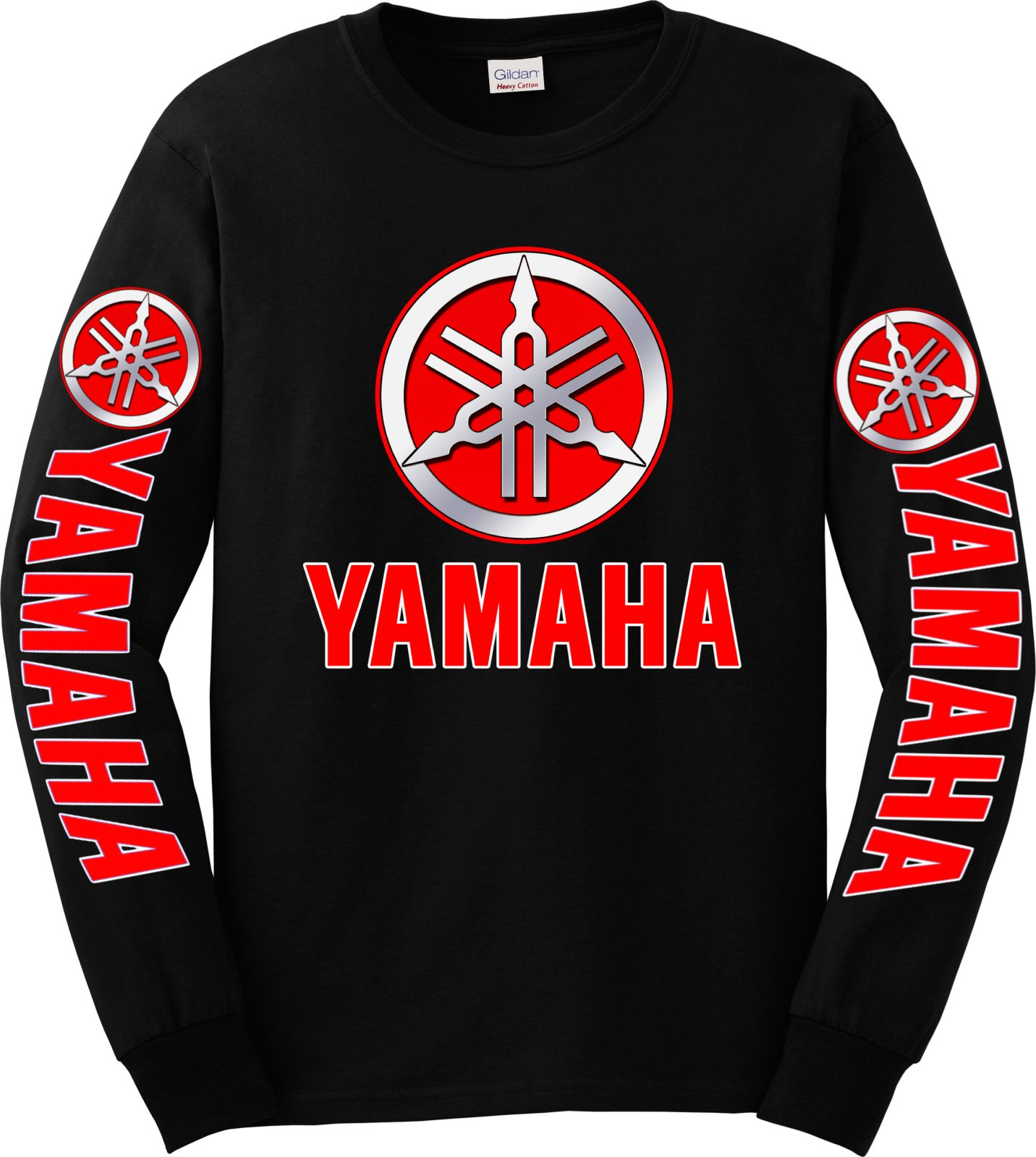 Yamaha Red Logo Long Sleeve T-Shirt, 4XL Black