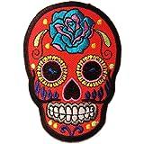 Roses colorés Crâne Rouge Punk Patch ''6,5 x 9,3 cm'' - Écusson brodé Ecussons Imprimés Ecussons Thermocollants Broderie Sur Vetement Ecusson