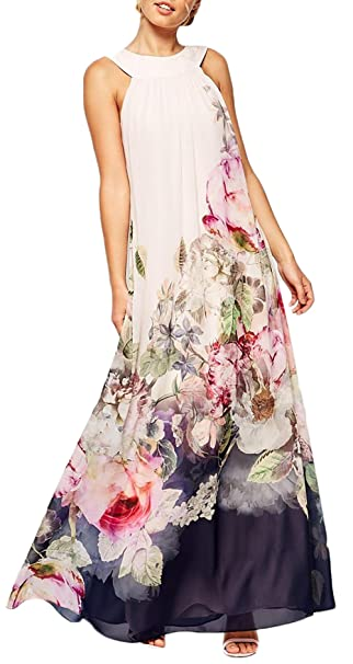 Vestidos De Fiesta Mujer Largo Elegante Sin Mangas Impresión Floral Vestido Sencillos Especial De Noche Espalda Abierta Moda Anchas Coctel Blanco Maxi Dress ...