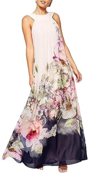 Vestidos De Fiesta Mujer Largo Elegante Sin Mangas Impresión Floral Vestido Sencillos Especial De Noche Espalda