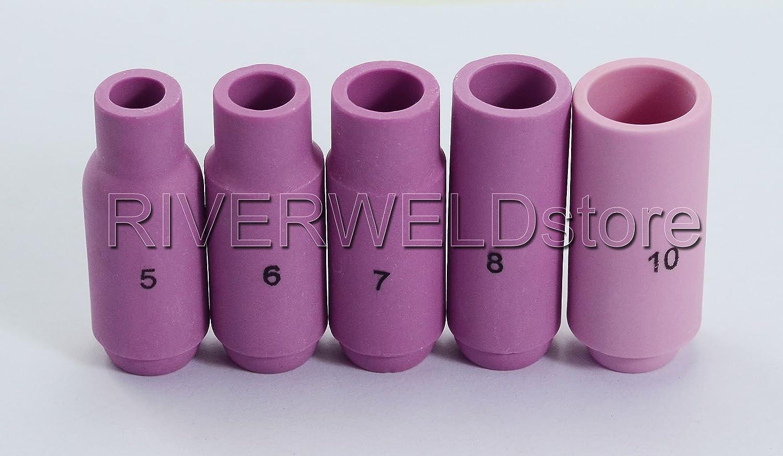 TIG Collet Body TIG Alumina Nozzles Consumables Accessorie Kit SR WP 17 18 26 TIG Welding Torch 15pcs