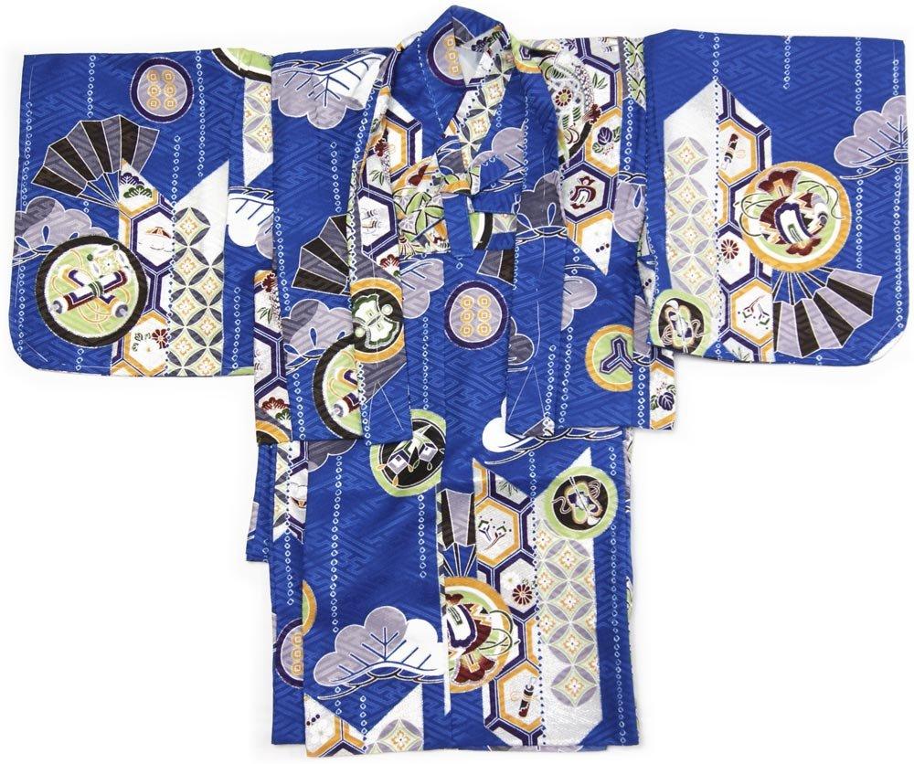 赤ちゃん着物 男の子誕生祝い着 1歳から2歳用 被布着物セット 初節句、セレモニー、宮参り ベビー和装着ギフト箱入り (青色)  青色 B07B49WQSR