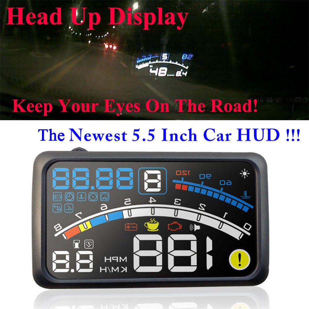 5.5 inch OBDII Car Windshield HUD Head Up Display, OBD2 II/EUOBD car HUD Head Up Display with Over speed Warning System, Projector Windshield Auto Electronic Voltage Alarm, Bracket (blue) by blue--net (Image #3)
