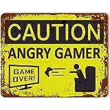 "Cartel de precaución con texto ""Caution: Angry Gamer"", de metal, con efecto antiguo, para puerta"