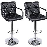 SONGMICS Adjustable Bar Stools with Arms and Back PU Swivel Barstool Chairs, Set of 2, ULJB93B