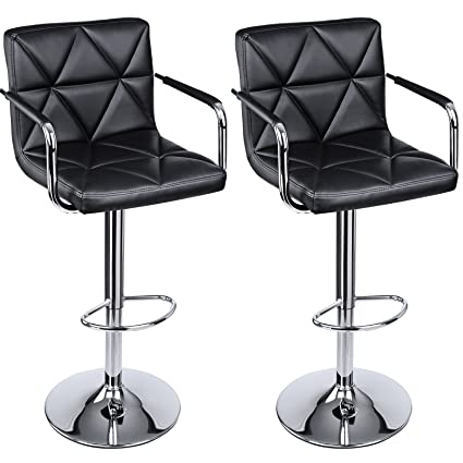 Amazon Com Songmics Set Of 2 Adjustable Swivel Bar Stool Chairs