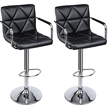 SONGMICS Adjustable Bar Stools with Arms and Back Leather Swivel Barstool Chairs Set of 2  sc 1 st  Amazon.com & Amazon.com: SONGMICS Adjustable Bar Stools with Arms and Back ... islam-shia.org