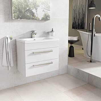 The Bath People Newton Hochglanz Weiss Badezimmer Waschkommoden Holz