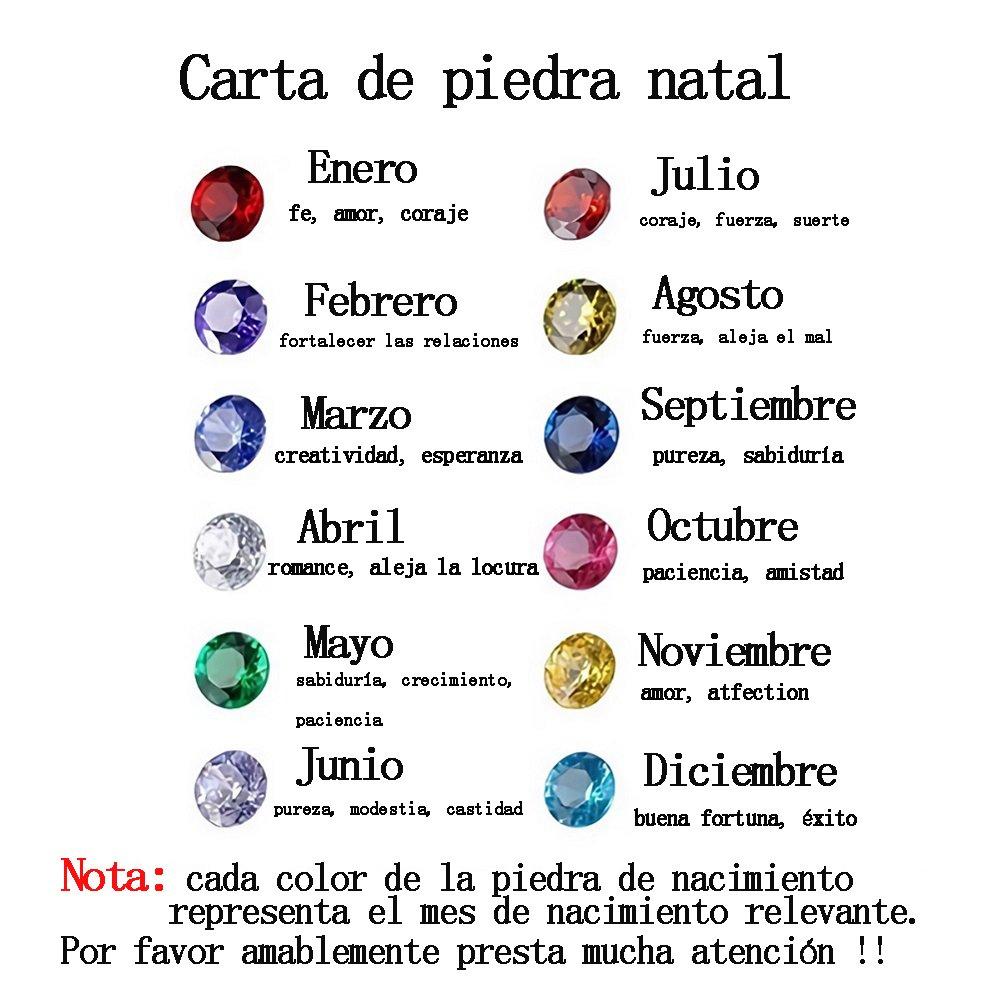 Godmoy Árbol Genealógico Grabado en Piedra Natal en Plata de Ley 925 / Oro/Oro Rosa: Amazon.es: Joyería