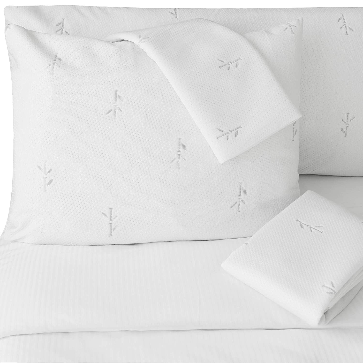 FeelAtHome Bamboo Pillow Protector Waterproof Hypoallergenic Pack of 2 (Queen) - Anti-Bedbug, Anti-Allergen Zippered Bamboo Pillow Case Cover Encasement - Cooling, Ultra Soft Bamboo Fibre