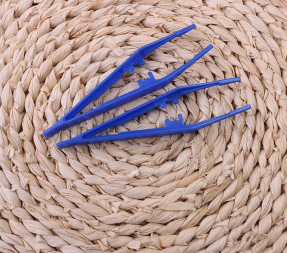 10PCS 4.13 Inch Plastic Blue Disposable Forceps Beads Tweezer Manual DIY Crafts Tool Children Kids Clip First Aid Kit Accessories