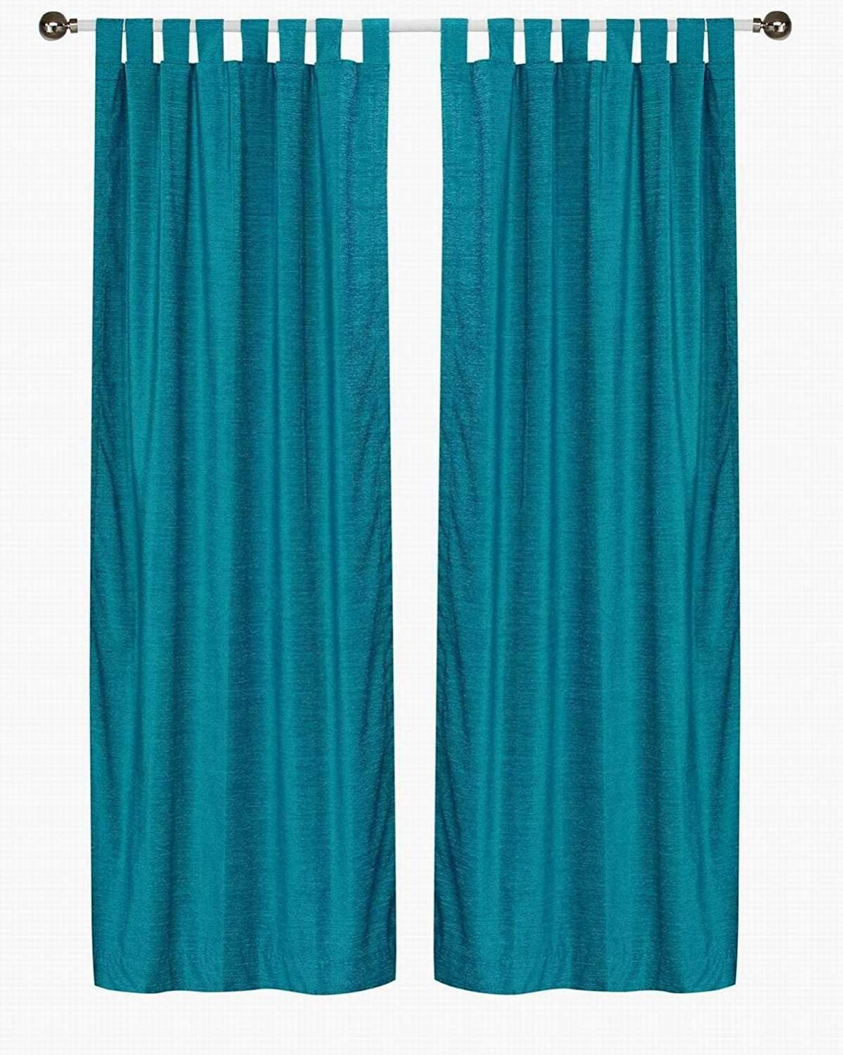 Indian Selections Turquoise Tab Top Velvet Cafe Curtain/Drape/Panel - 43W x 24L - Piece