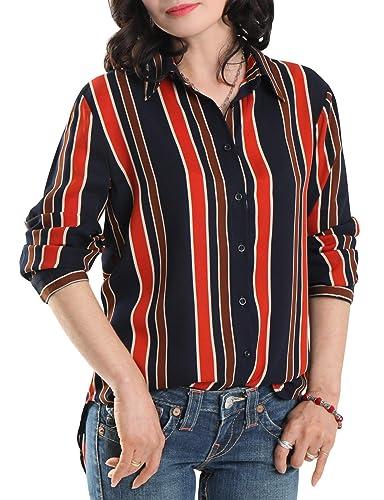Amazon.com: EZEN blusa de manga larga con botones elásticos ...