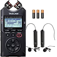 Tascam DR-40X Digital Audio Recorder (Multitrack Recorder) and USB Interface Microphone Bundle with Movo Omnidirectional and Cardioid XLR Lavalier Lapel Microphones