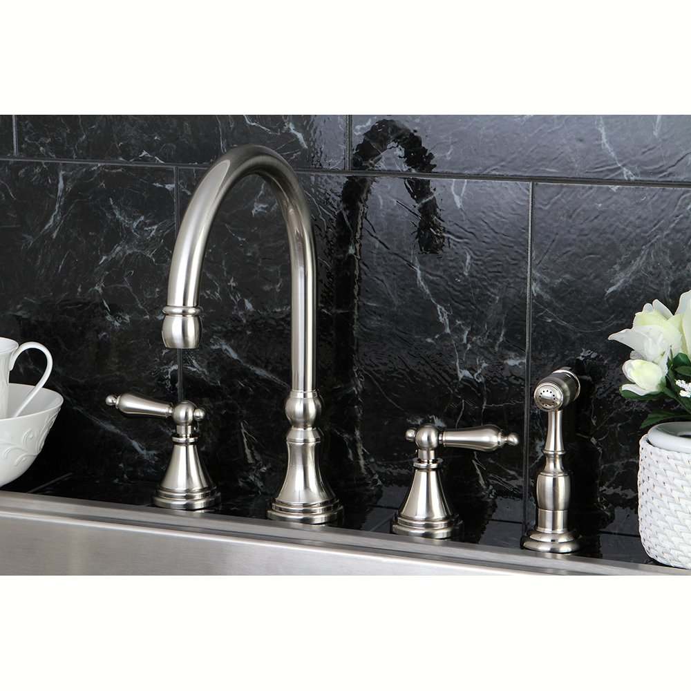Kingston Brass KS2798ALBS Governor Deck Mount Kitchen Faucet with ...