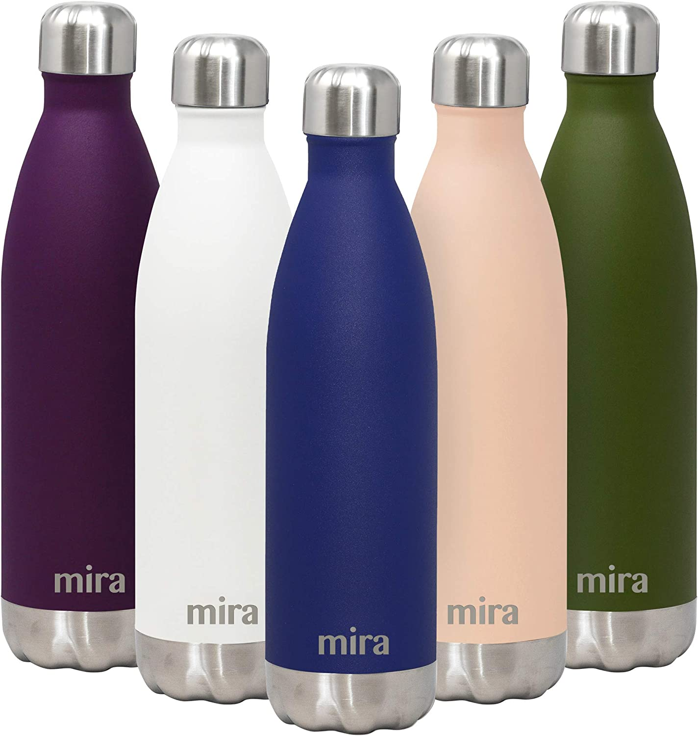 MIRA 25 Oz Stainless Steel Vacuum Insulated Water Bottle | Double Walled Cola Shape Thermos | 24 Hours Cold, 12 Hours Hot | Reusable Metal Water Bottle | Leak-Proof Sports Flask | Matte Dark Blue