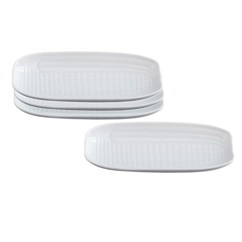 Set of 2 HIC Harold Import Co White Porcelain 9.5 Inch Corn Cob Tray