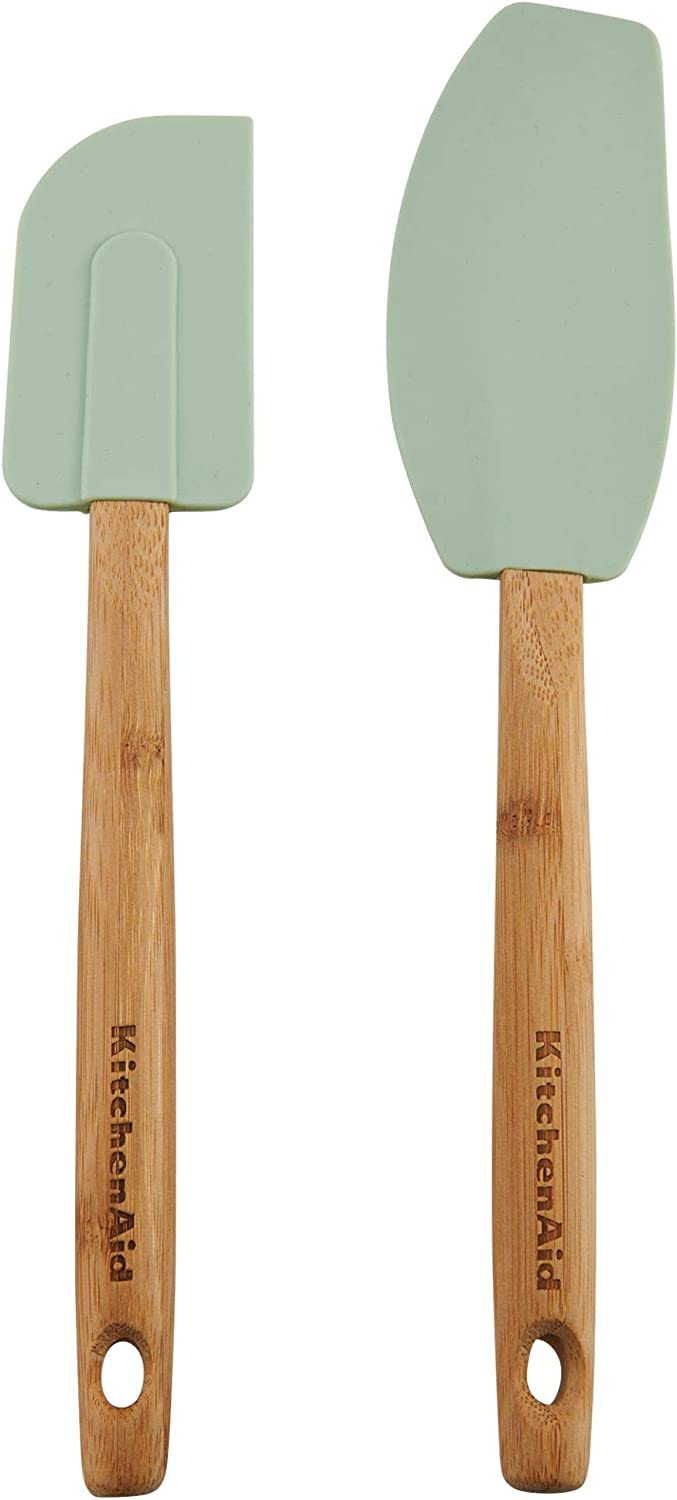KitchenAid Classic Bamboo Spatula Set, set of 2, Pistachio