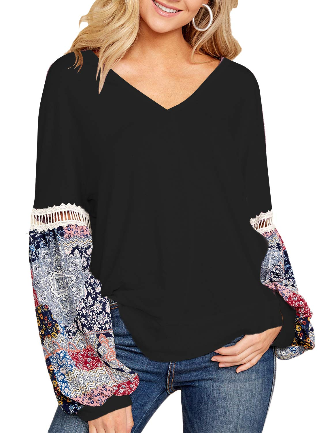 FARYSAYS Women's Autumn V Neck Long Sleeve Floral Patchwork Loose Fit T-Shirts Tops Blouse Black Medium by FARYSAYS (Image #1)