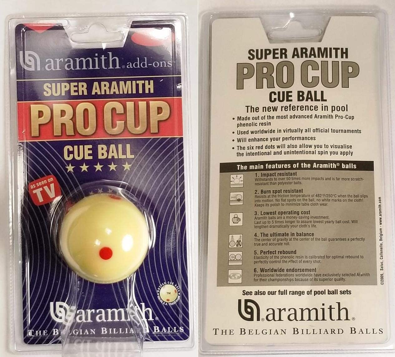 NEW SUPER ARAMITH PRO CUP CUE BALL 6 RED SPOTS TV 2 1//4 FREE SHIPPING USA
