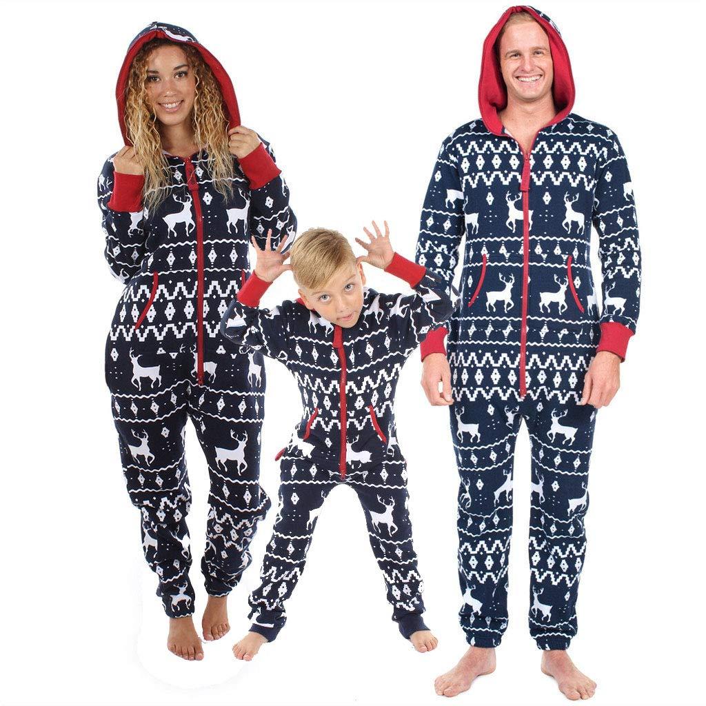 29bc4e2cd0b Family Matching Christmas Pajamas Set Mom Dad Kids Deer Hoodie Zipper  Romper Jumpsuit for Sleepwear Nightwear