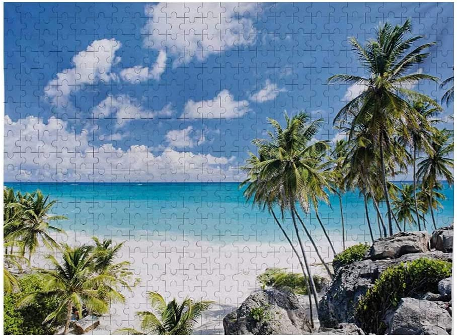 Summer Jigsaw Puzzle Games 500 Piece, Bottom Bay Barbados Beach Tropical Palms Ocean Holiday Paradise Coast Charm Picture, Multicolor