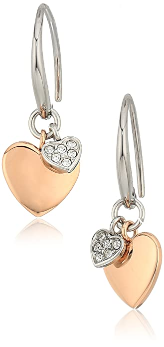 332f1aeb7 Amazon.com: Fossil Women's Double Heart Two-Tone Steel Stud Earrings,  Color: Rose Gold: Jewelry