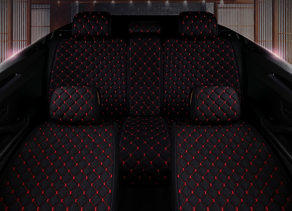 INCH EMPIRE Anti Slip Car Seat Cover Full Set Cloth Universal Fit Front and Back Breathable Dirty Proof Fabric Cushion-Adjustable Bench for 95% Types of 5 Seats Cars(Black with Red Stitch Grid) by INCH EMPIRE (Image #4)