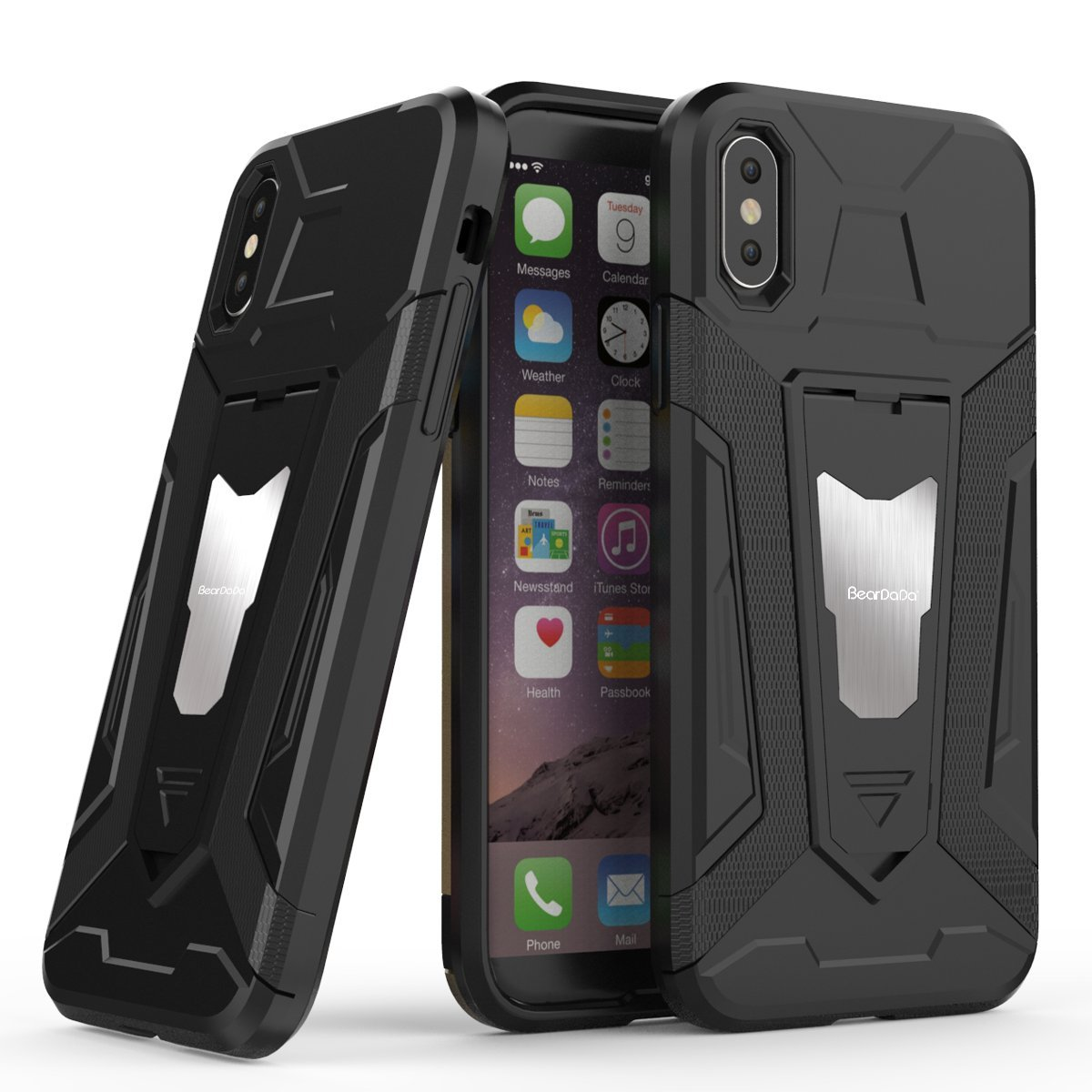 iPhone 7 Case, Queen Forever 360 Full Body Protection Hard Slim Case Coated Non Slip Matte Surface with Tempered Glass Screen Protector for Apple iPhone 7 8 Plus