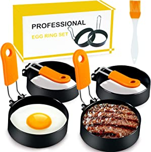 AerWo Egg Rings Set of 4, Nonstick Egg Ring for Frying Eggs Mcmuffins, Stainless Steel Round Egg Mold with Anti-Scald Handle, Egg Cooker Ring for Fried Eggs, Pancake, Breakfast (Oil Brush Included)