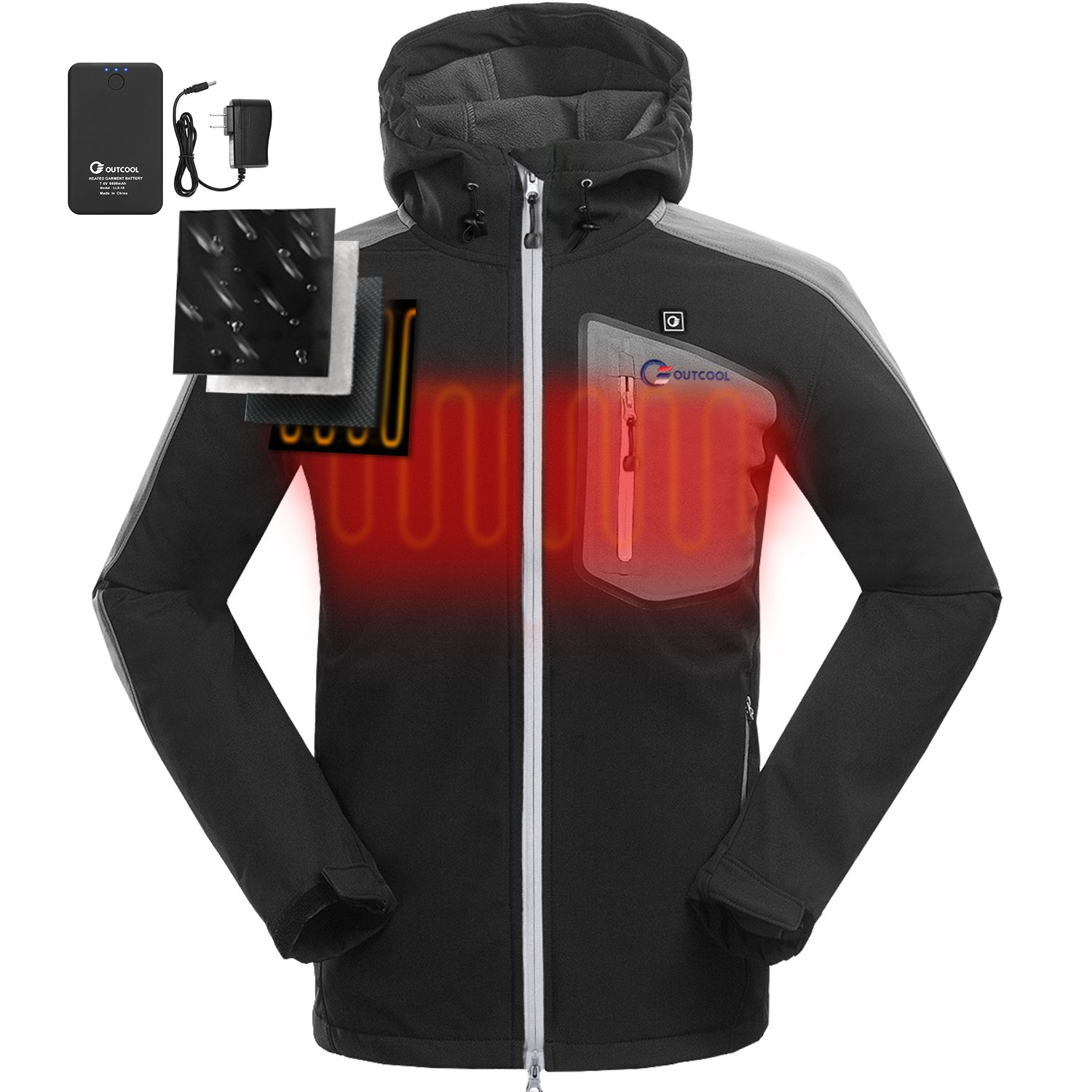 OUTCOOL Heated Jacket for Men with Hood Waterproof Windproof Soft Shell Winter Jacket(L)