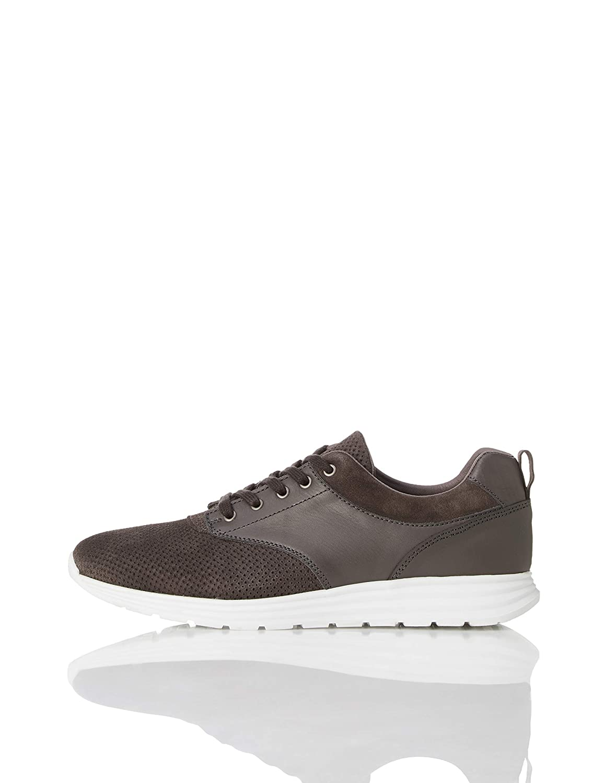 grey (Grey Grey) find. Perforated Suede Hybrid, Men's Low-Top Sneakers
