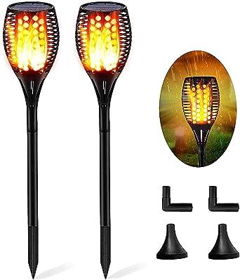 Luces Jardin Solares Exterior, Efecto de Llama que Oscilan Realista, IP65 Impermeable 96 LED Solar Luces de la Antorcha para Jardín Patio Camino Yarda (2 Piezas) [Clase de eficiencia energética A+]: Amazon.es: