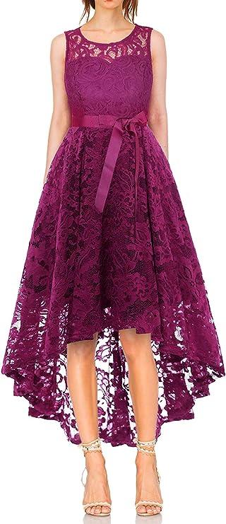 TALLA S. Vestido Cóctel Vintage A-línea Hi-Lo Elegante Mujer Flor Encaje Vestidos De Fiesta