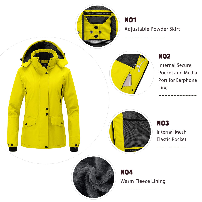 Amazon.com  Wantdo Women s Mountain Rain Jacket Windproof Fleece Ski Coat  Waterproof Hooded Warm Winter Parka  Clothing 8daf2b3c5
