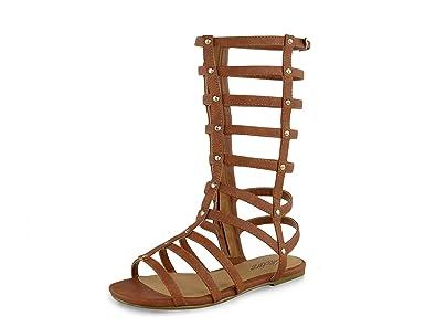 03d2087a00d Kids Tan Black Nubuck Gladiator Stud Flat Sandals for Summer Holiday Wear  Cute Footwear Wide Size