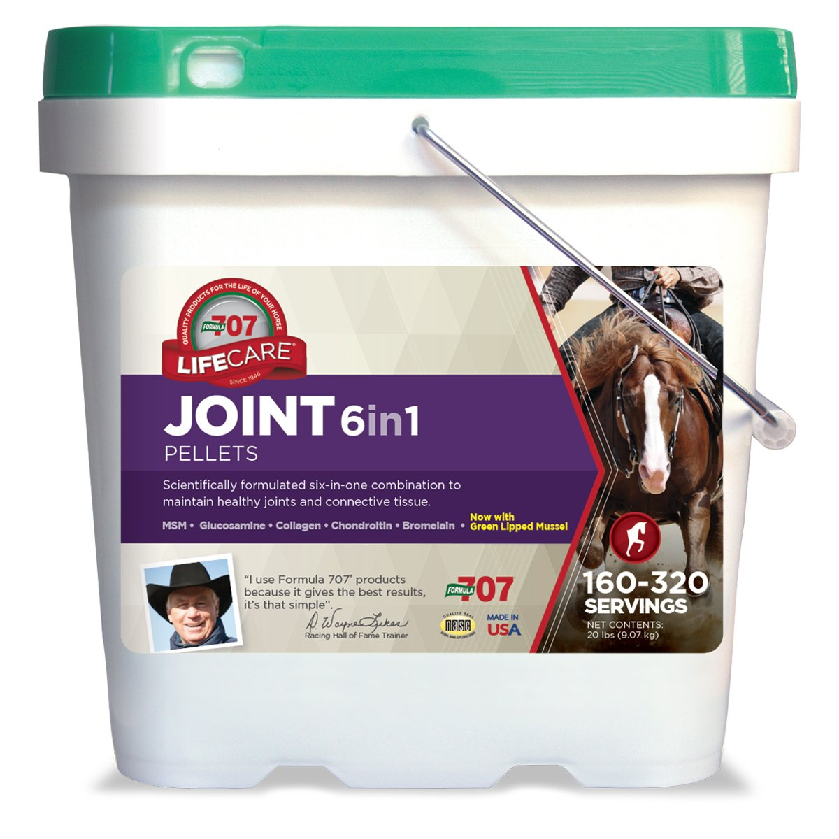 Formula 707 Joint 6in1 Equine Supplement, 20lb Refill Bag – Green-Lipped Mussel, MSM, Glucosamine, Chondroitin, Collagen, & Bromelain for Horses