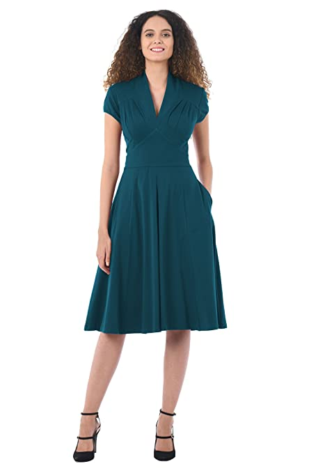 1940s Style Dresses | 40s Dress, Swing Dress eShakti Womens Feminine Pleated Cotton Knit Dress $49.95 AT vintagedancer.com