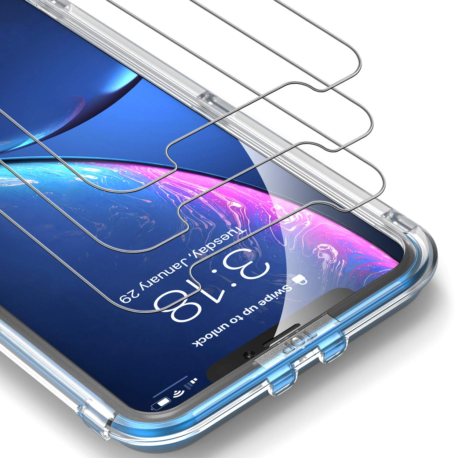 UNBREAKcable Screen Protector for iPhone XR [3-Pack] - 9H Hardness Tempered Glass for iPhone XR, Bubble-Free, Shatter-Proof, Free Installation Frame, Case-Friendly, 3D Touch Support by UNBREAKcable