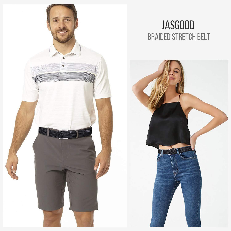 JASGOOD Braided Stretch Belt Mens,Woven Elastic Belt,Golf Belt for Cargo Shorts Jeans Women Junior(Suit for pant size 35-41 Inch,12-Black)