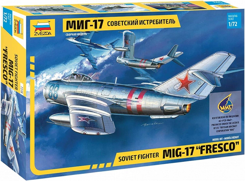 Zvezda 7318 500787318-1:72 MIG-17 Fresco Soviet Fighter - Juego de construcción de maqueta para Principiantes (sin lacar): Amazon.es: Juguetes y juegos