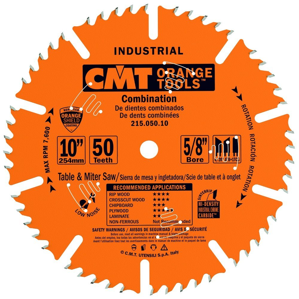 CMT 215.050.10 Industrial Combination Blade, 10-Inch x 50 Teeth 4ATB+1TCG Grind with 5/8-Inch Bore, PTFE Coating by CMT