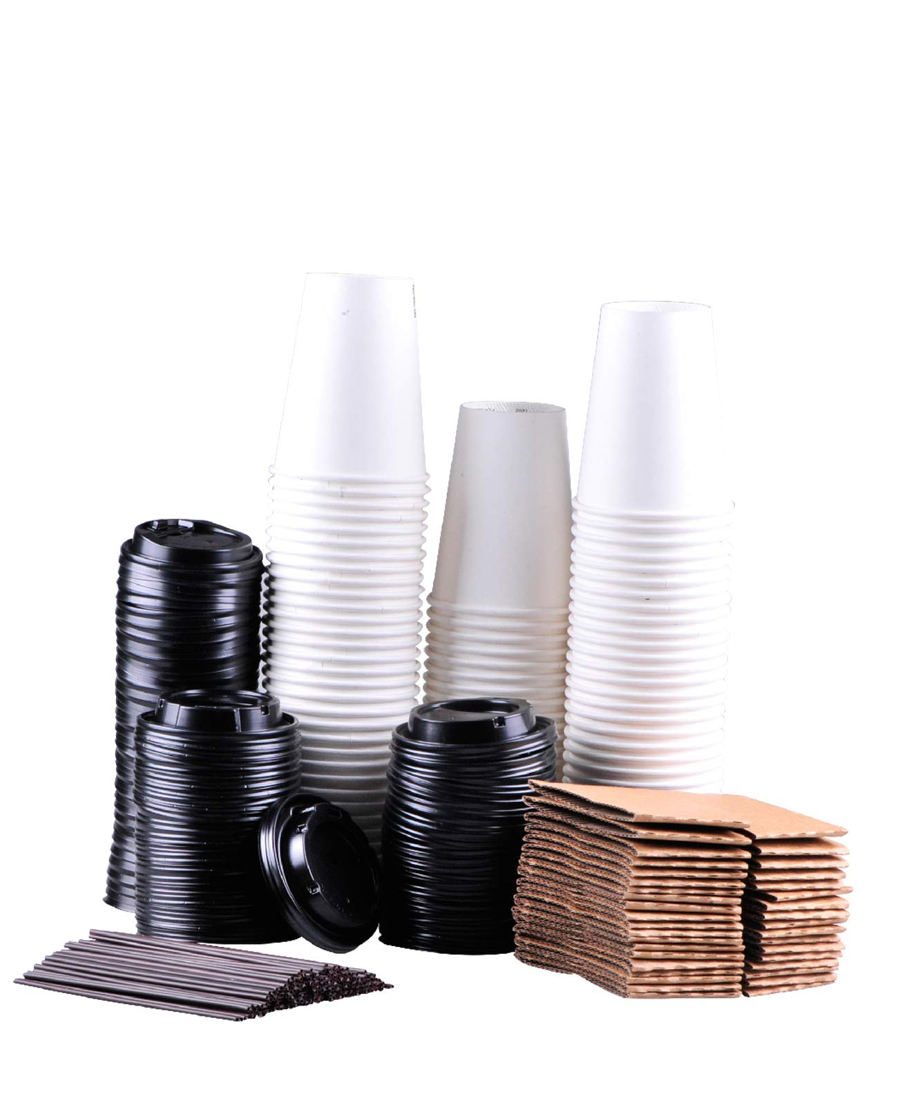 to go paper coffee cups with Travel Lids Sleeves and Straws 100% Biodegradable & Compostable Pla Eco Friendly Paper Coffee Cups 110 Sets of 12 oz