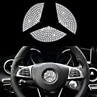 AEEIX Bling Steering Wheel Logo Caps Compatible with Mercedes Benz, DIY Diamond Crystal Emblem Accessories Interior…