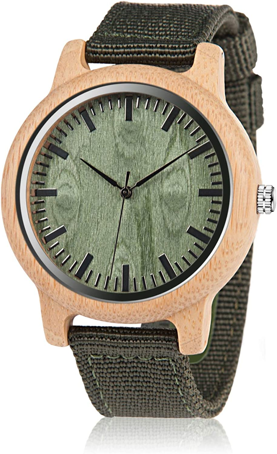 BOBO BIRD Unisex Bamboo Wooden Watch for Men and Women Analog Quartz Lightweight Handmade Casual Watches with Green Nylon Strap