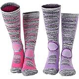 Diealles 2 Pares Calcetines para Mujer de Esquí para Esquiar, Ir de Excursión (M 35-39) - Un Par de Rosa, Un Par de Morado