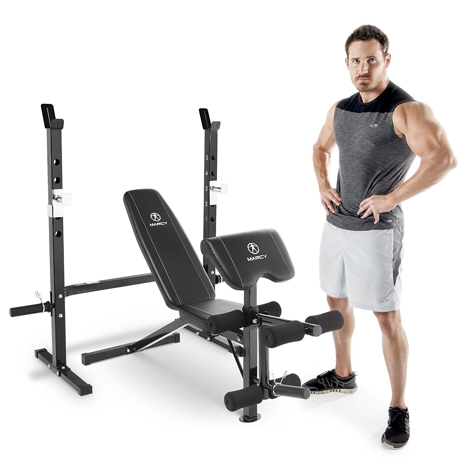 Marcy 2 Pc Olympic Weight Bench With Bar Catches Leg
