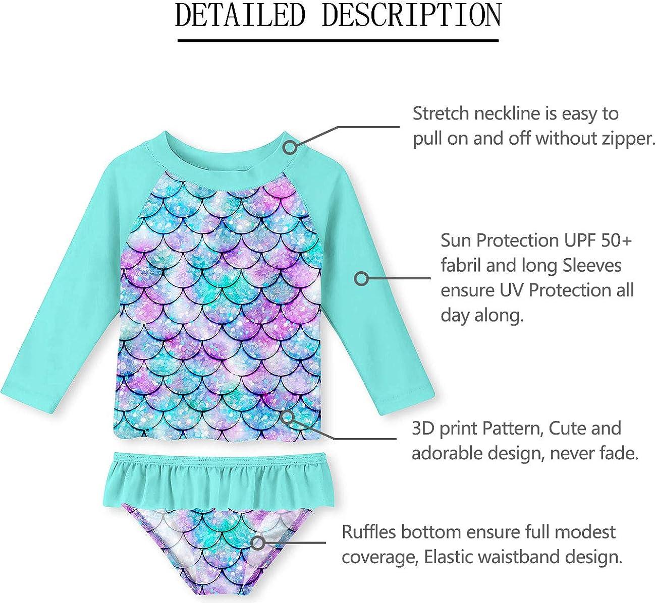 Sun Protection 2-8T UNIFACO Toddler Girls Swimsuit Rashguard Set Summer Beach Breathable Tankini with UPF 50