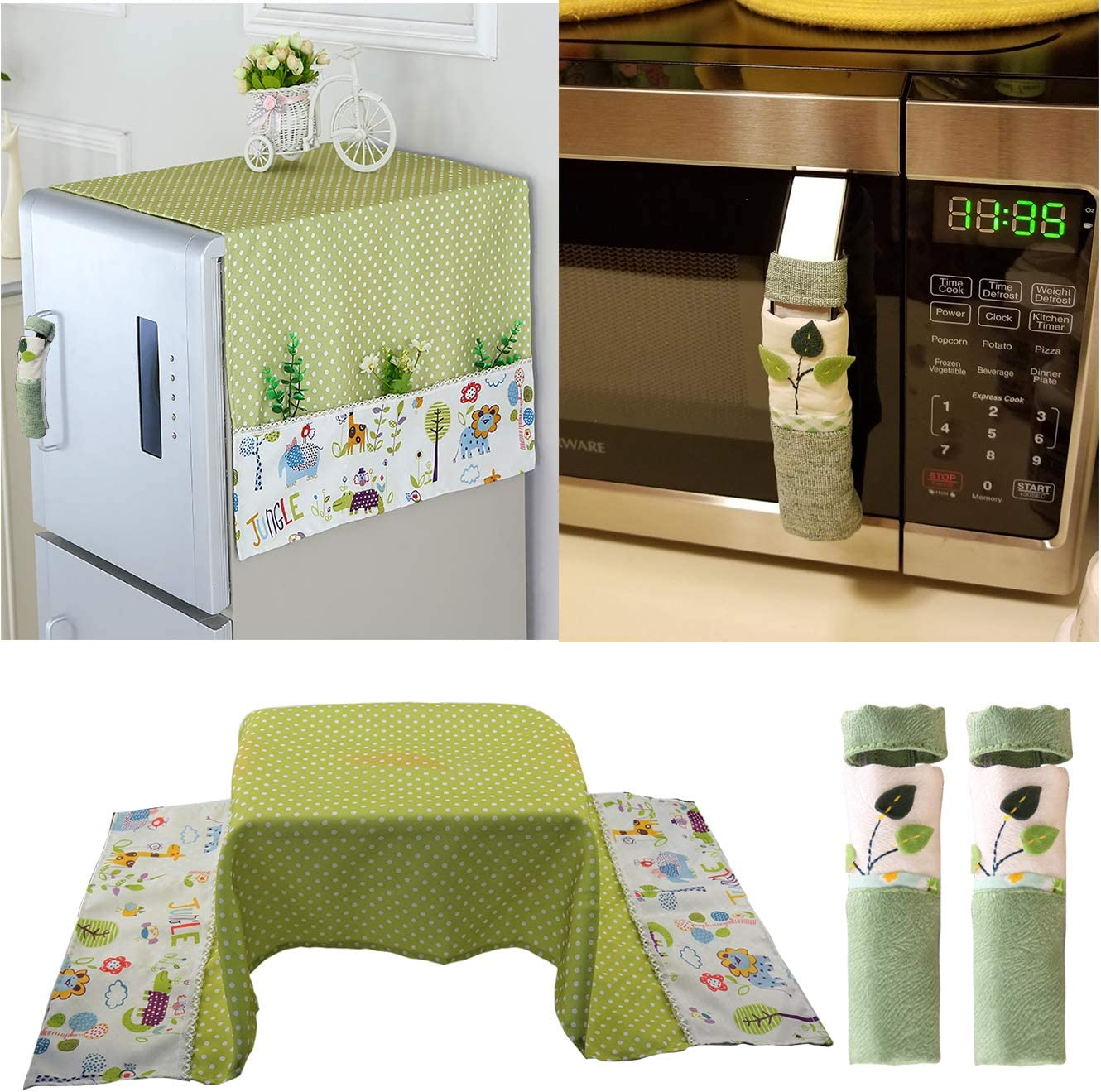 KEFAN Package of Fridge Dust Cover and Microwave Handle Cover Cotton Linen Cover for Washing Machine Oven Home Appliance (Green)